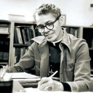 Dr. Rev. Pauli Murray doing research.