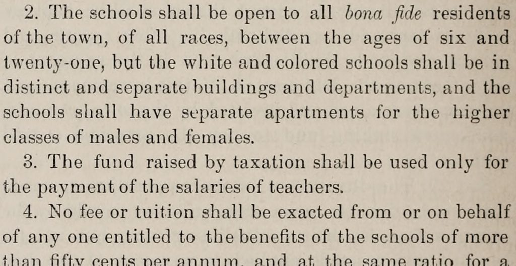 Snippet of words from an 1879 law specifying separation between races. Words include separate and white.